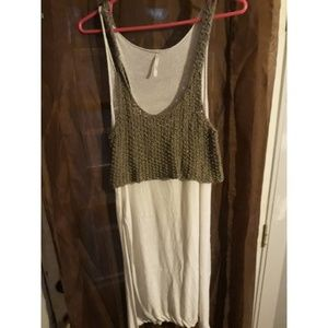 Free People split side olive and cream top
